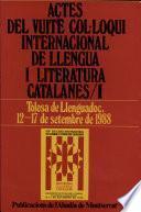 libro Actes Del Vuitè Col·loqui Internacional De Llengua I Literatura Catalanes