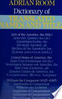 Dictionary Of Translated Names And Titles