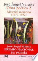 Obra Poética: Material Memoria (1977 1992)