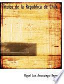 libro Tastulos De La Repaoblica De Chile