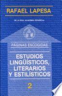 Estudios Lingüísticos, Literarios Y Estilísticos