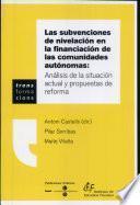 Las Subvenciones De Nivelación En La Financiación De Las Comunidades Autónomas