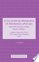 libro Evaluación De Programas En Psicología Aplicada